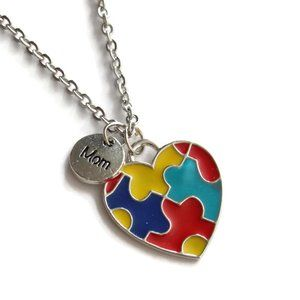 Jewelry - Autism Awareness Puzzle Mom Heart Necklace